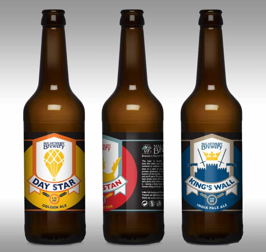 Malmesbury 500ml Beer Bottle Label Design