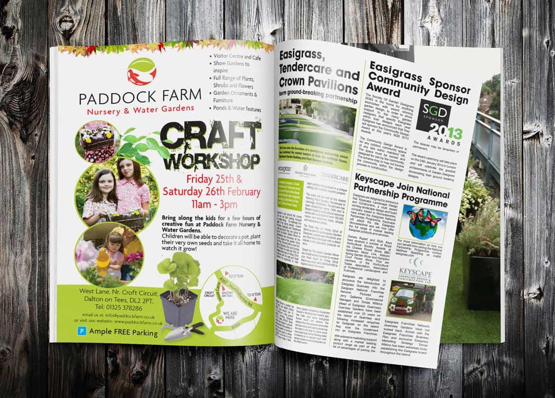 Paddock Farm Magazine advert design