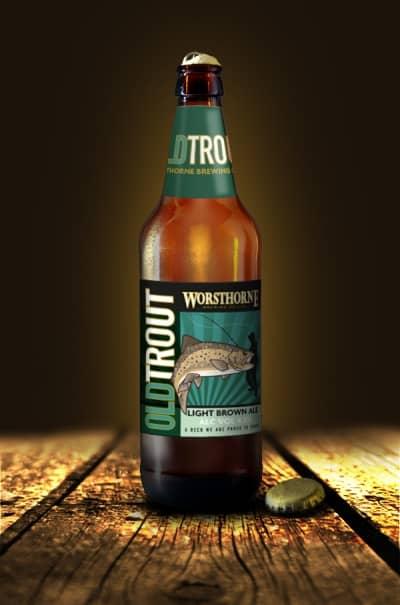 Worsthorne Old Trout Beer Bottle Label Design