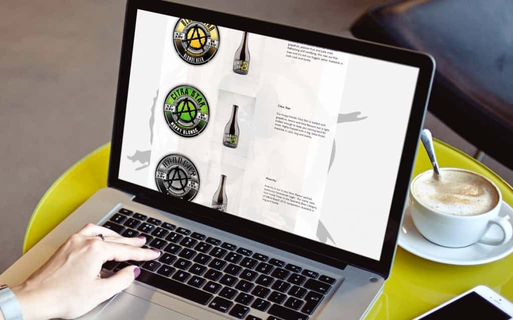 Website design for anarchy brewery
