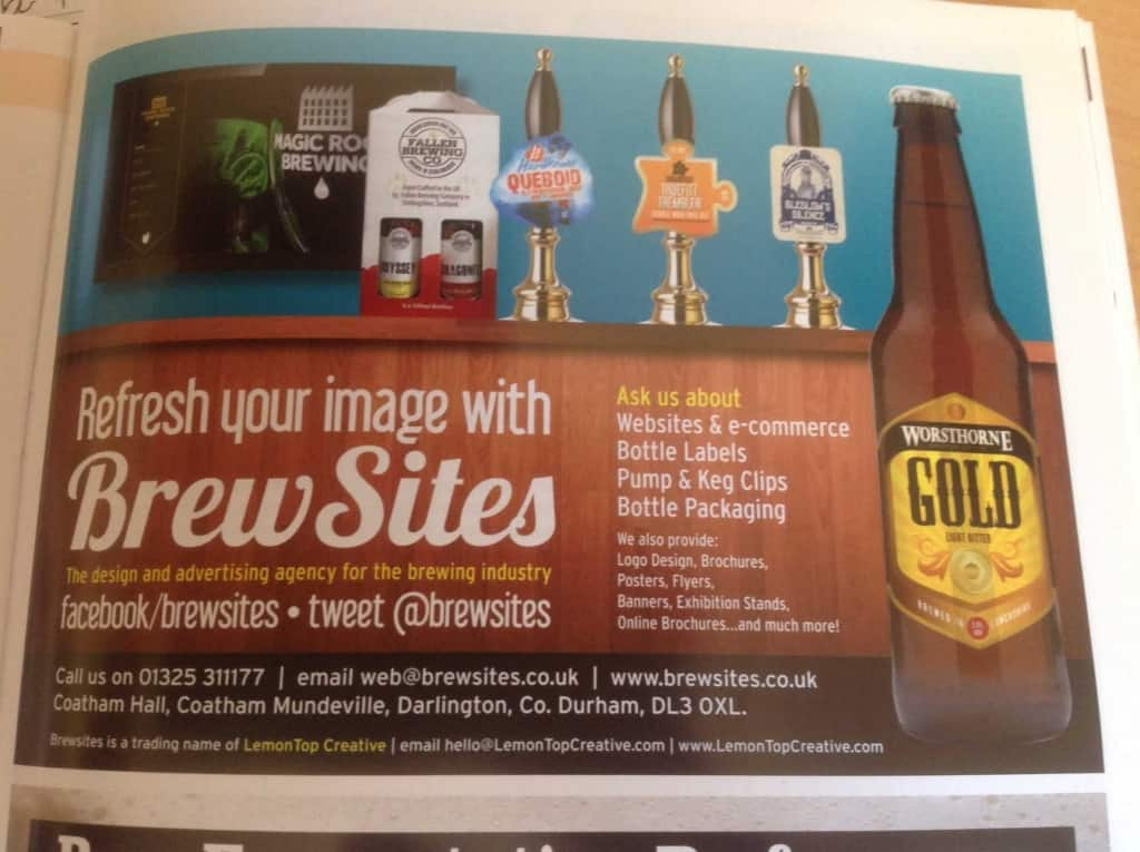 Our advert in SIBA