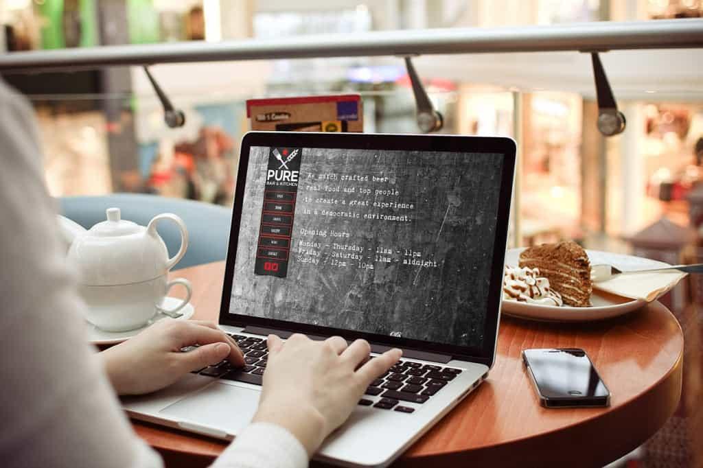 Pure bar and kitchen website design