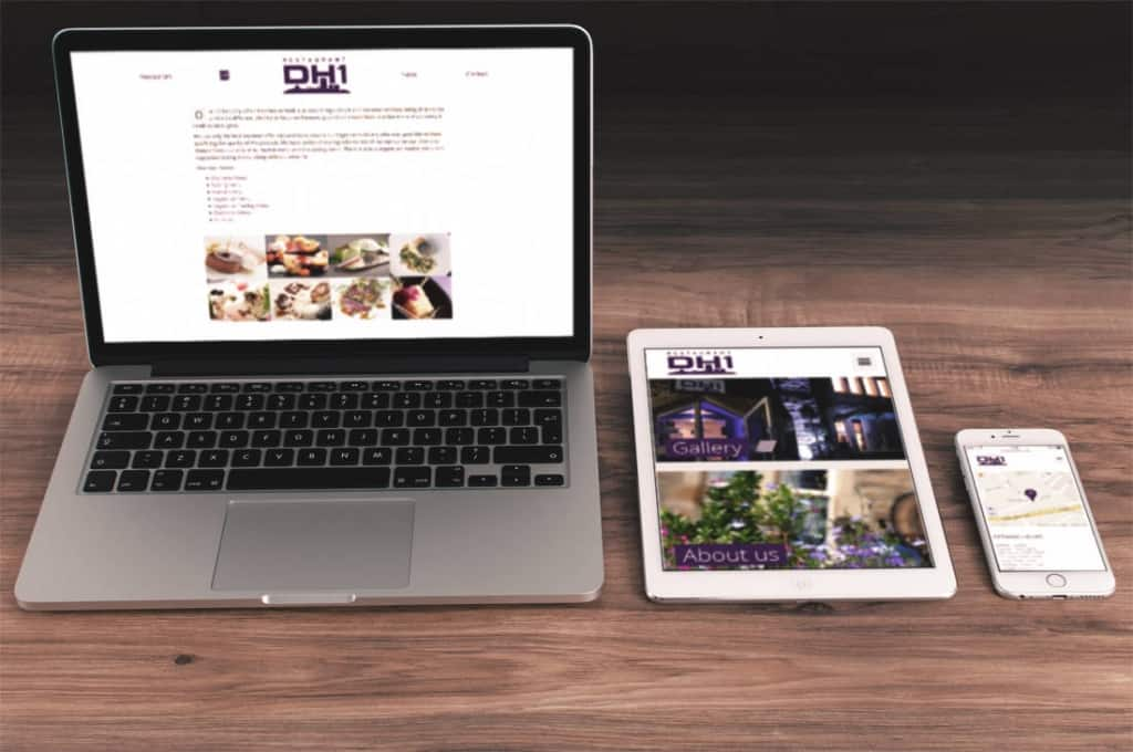 Restaurant DH1 mobile and tablet friendly website design